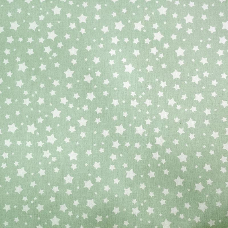Tessuto Cotone Fantasia Stelline Verde