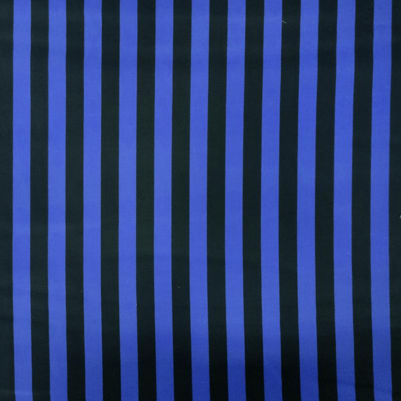 Tessuto Cotone Righe Blu e Nere