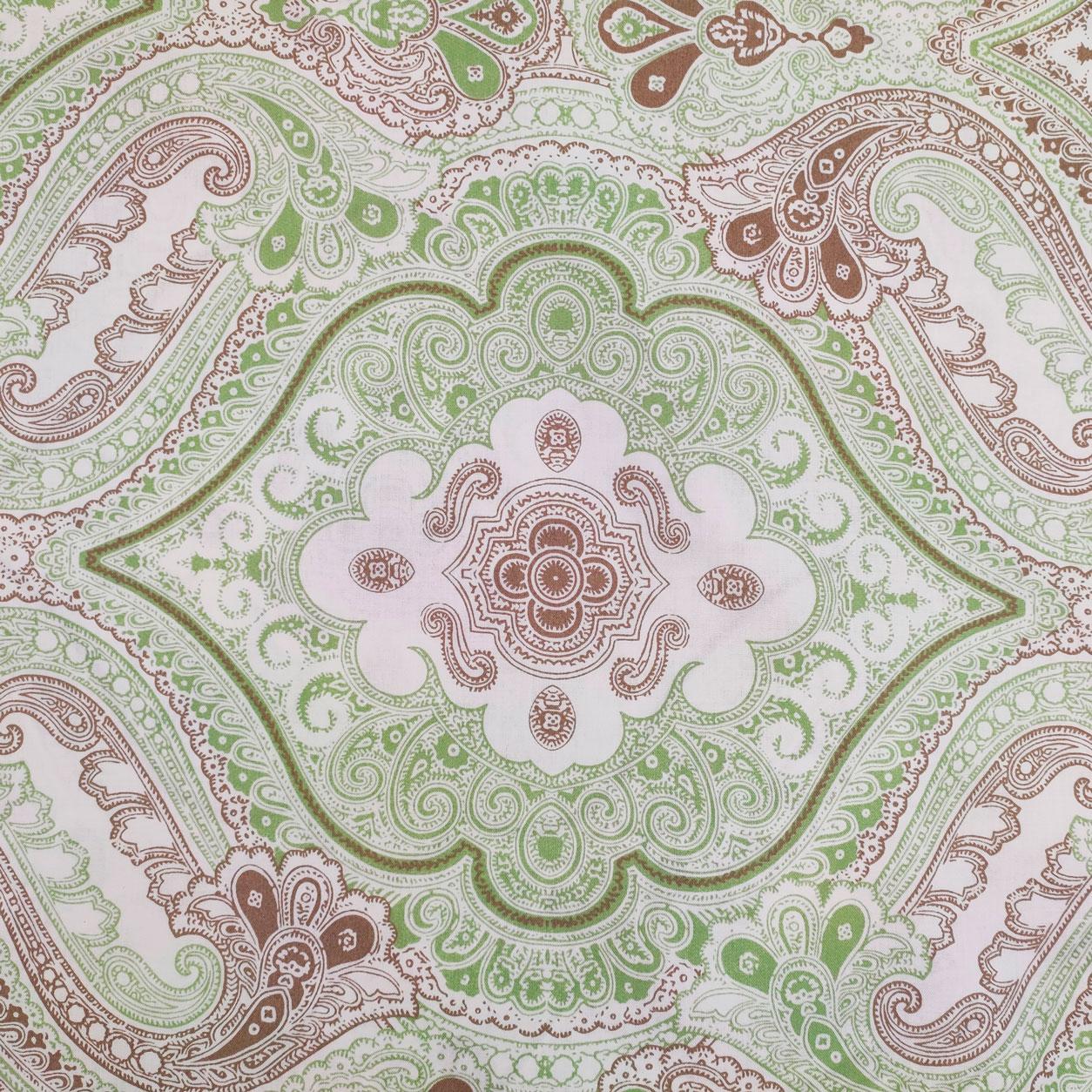 Tessuto Cotone Damascato Verde e Marrone