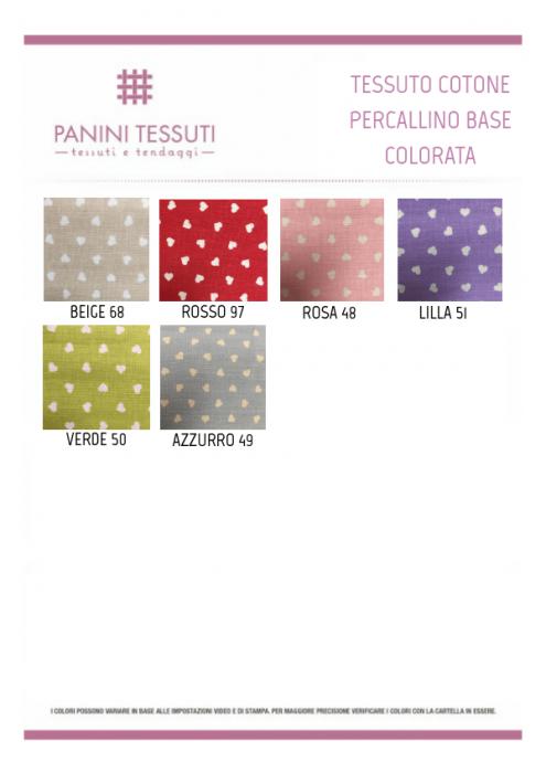 Tessuto Cotone Percallino Base Colorata con Cuoricini