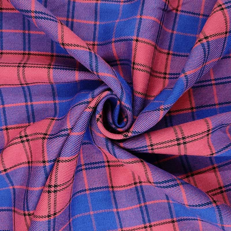 Tessuto Scozzese Blu e Rosa Scuro