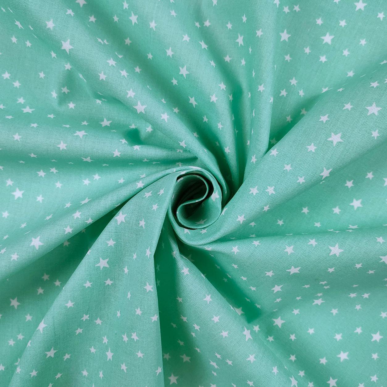Tessuto Stelline Sfondo Verde Acqua