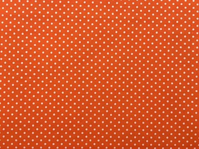 Tessuto Cotone Arancione a Pois