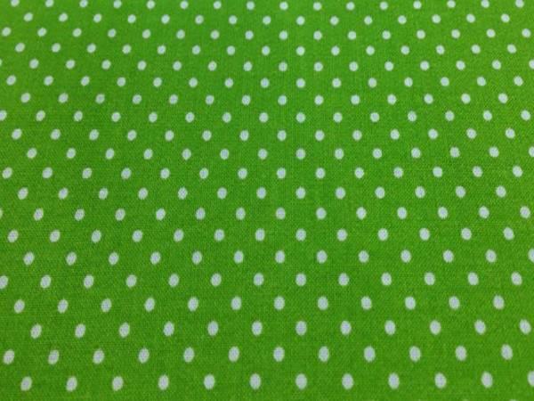 Tessuto Cotone Verde a Pois Piccoli