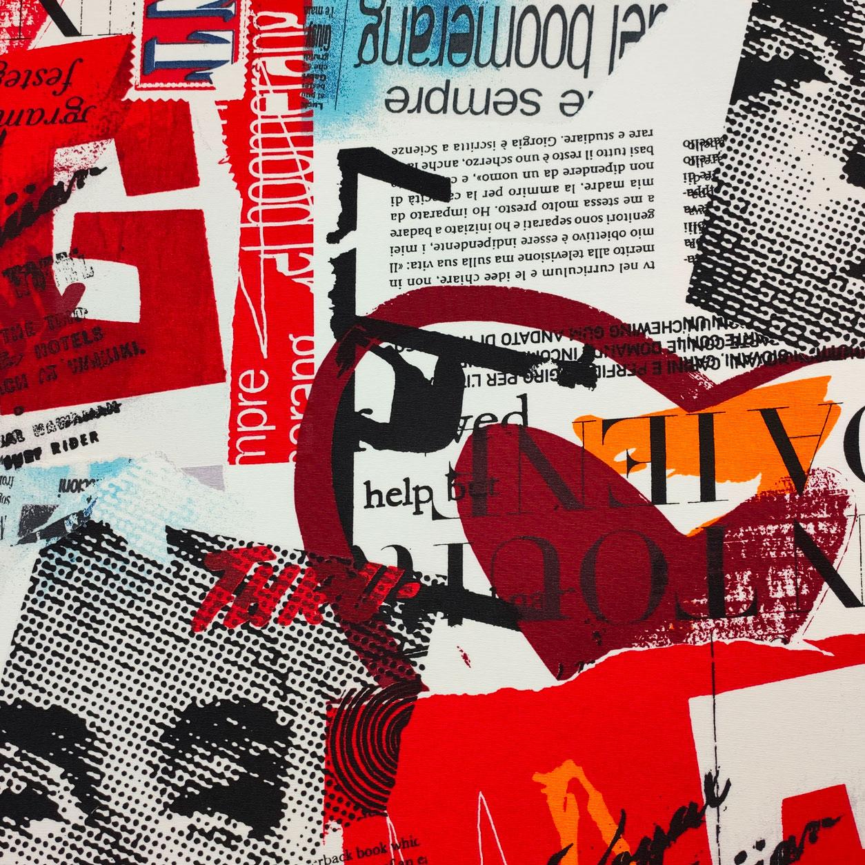 Tessuto Misto Cotone Fantasia Stampa Tipografica