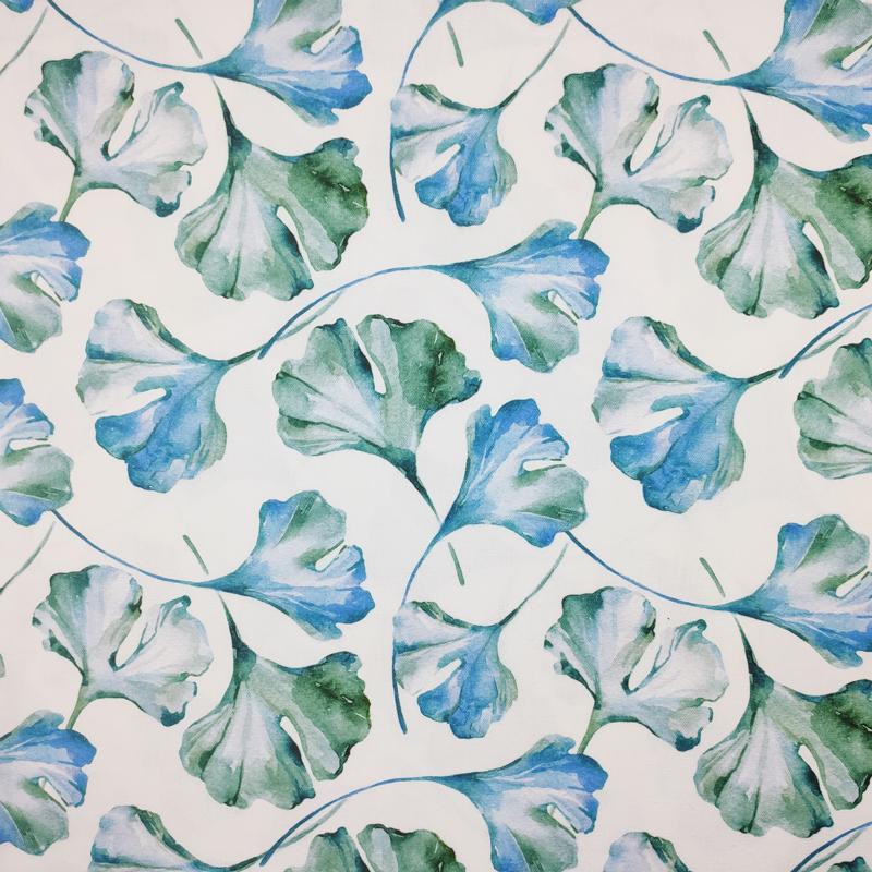 Tessuto-Arredo-Cotone-Fiori Azzurri-Sfondo-Bianco