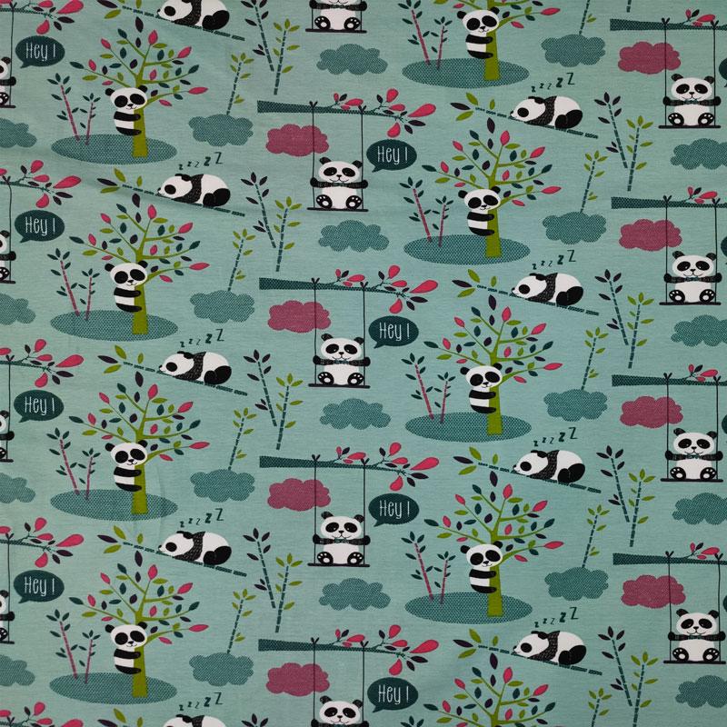 Tessuto Jersey Piccoli Panda Sfondo Verde Acqua