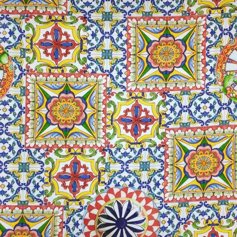 Tessuto Arredo Cotone Fantasia Ceramica Stile Maiolica