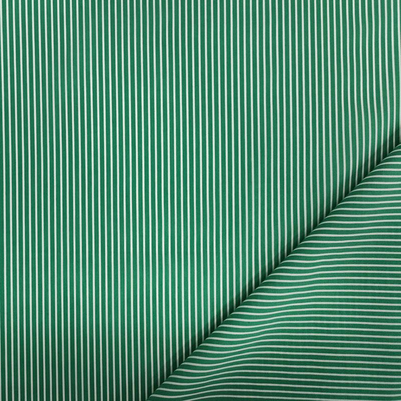 Tessuto Cotone Righe Verdi e Bianche Sottili
