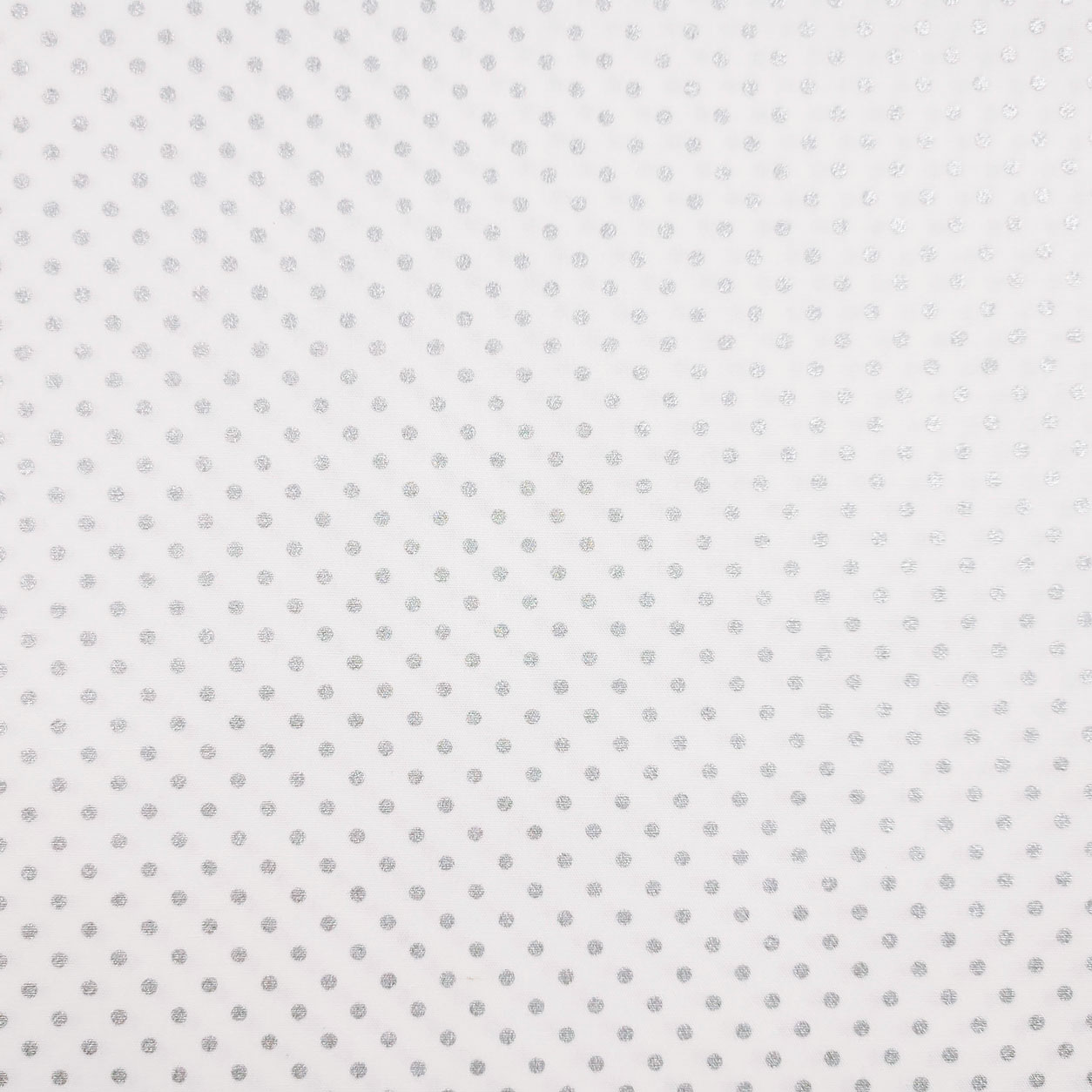 Tessuto Cotone Pois Lurex Argento Sfondo Bianco