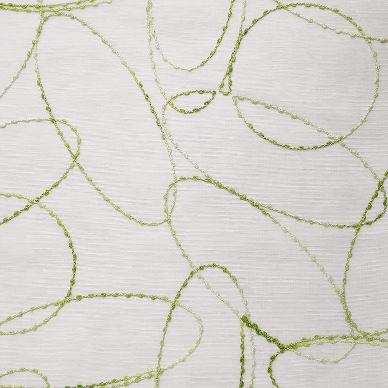 Tessuto Tendino Ricamo Circolare Verde