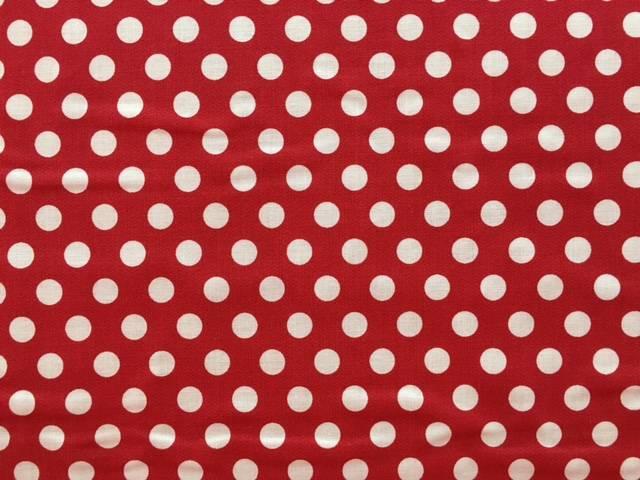 Tessuto Cotone Rosso a Pois Grandi