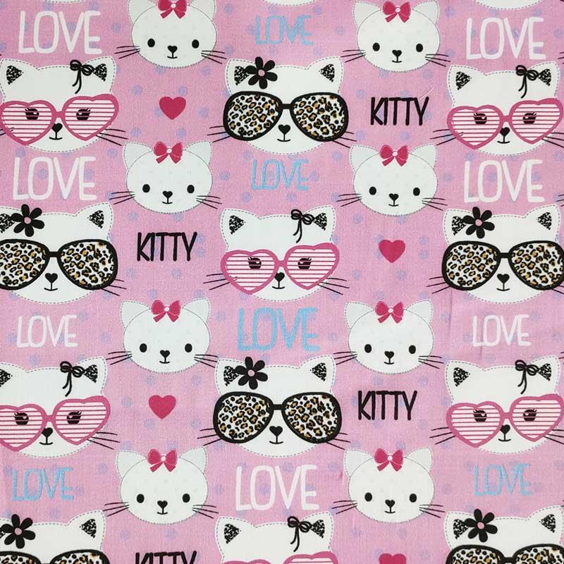 Ritaglio Tessuto Rasatello 100% Cotone Kitty Love 50x140 cm