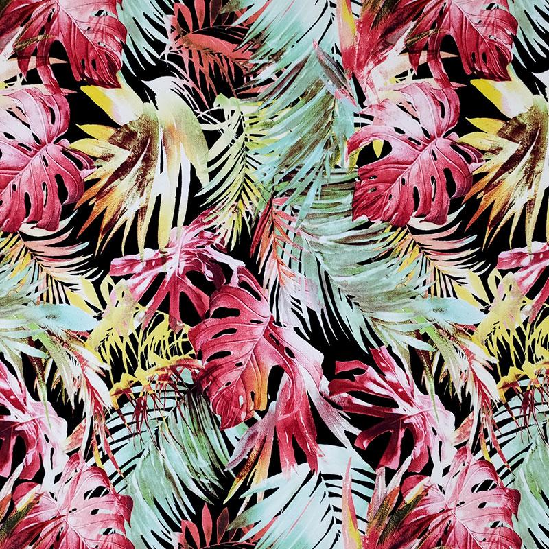 Tessuto Cotone Elasticizzato Foglie Verdi e Rosa
