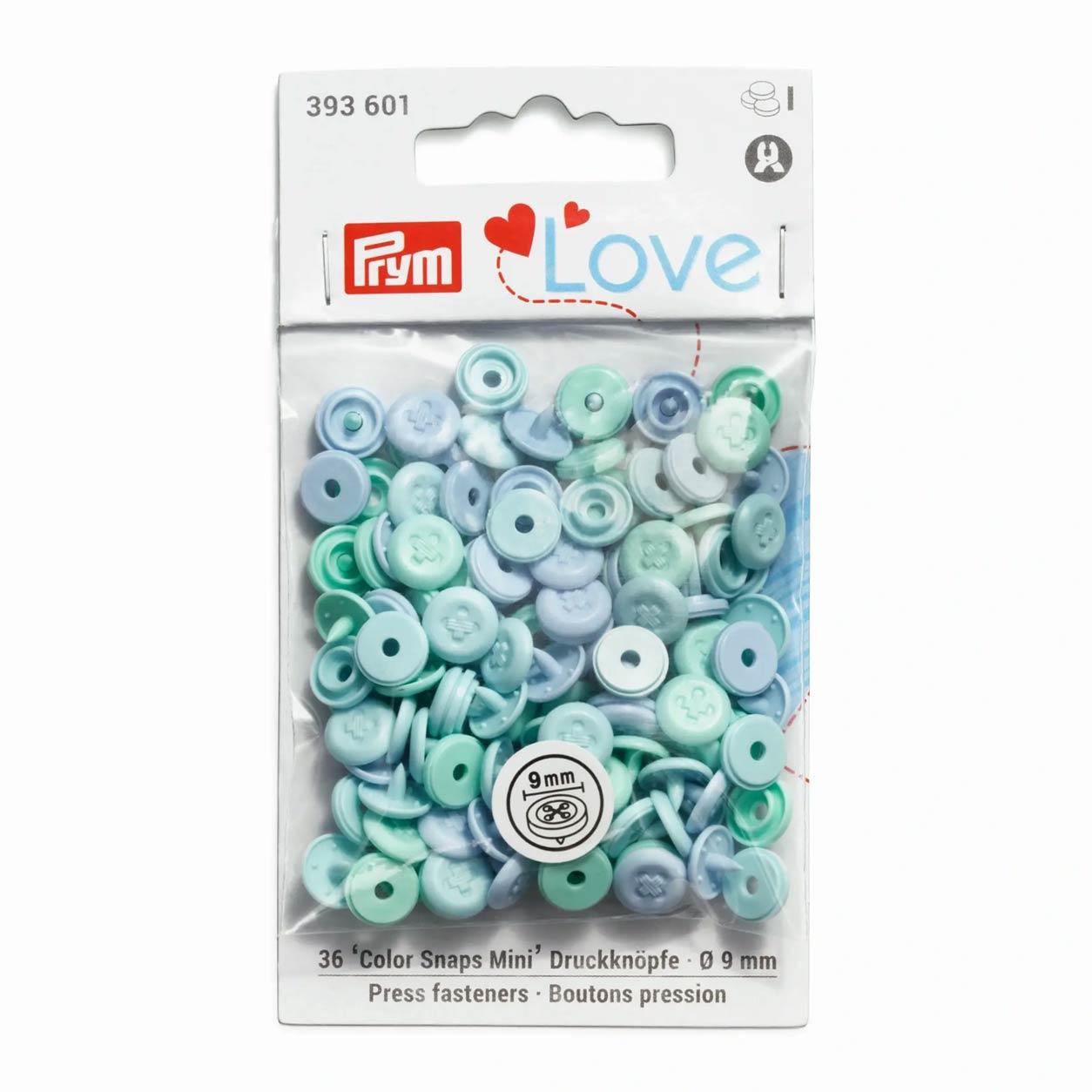 Bottoni a Pressione Color Snap Effetto Cucito Azzurri Prym Love 9 mm