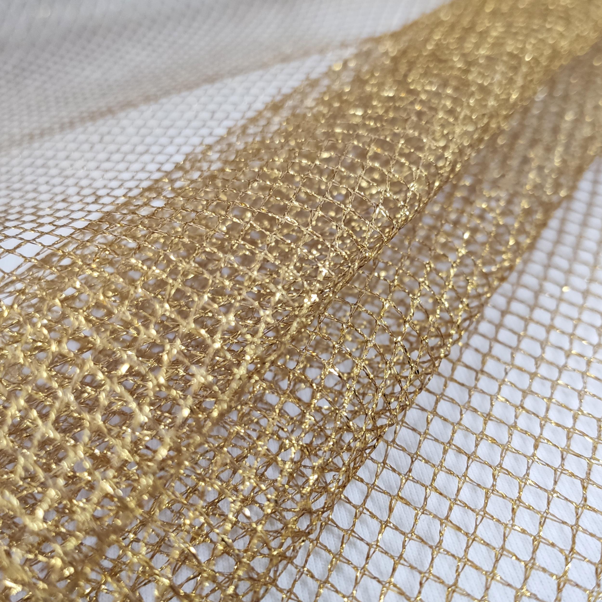 Tessuto Rete Lurex Oro