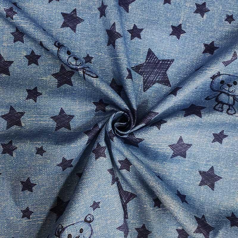 Tessuto Rasatello Tipo Jeans Cotone Orsetti e Stelle