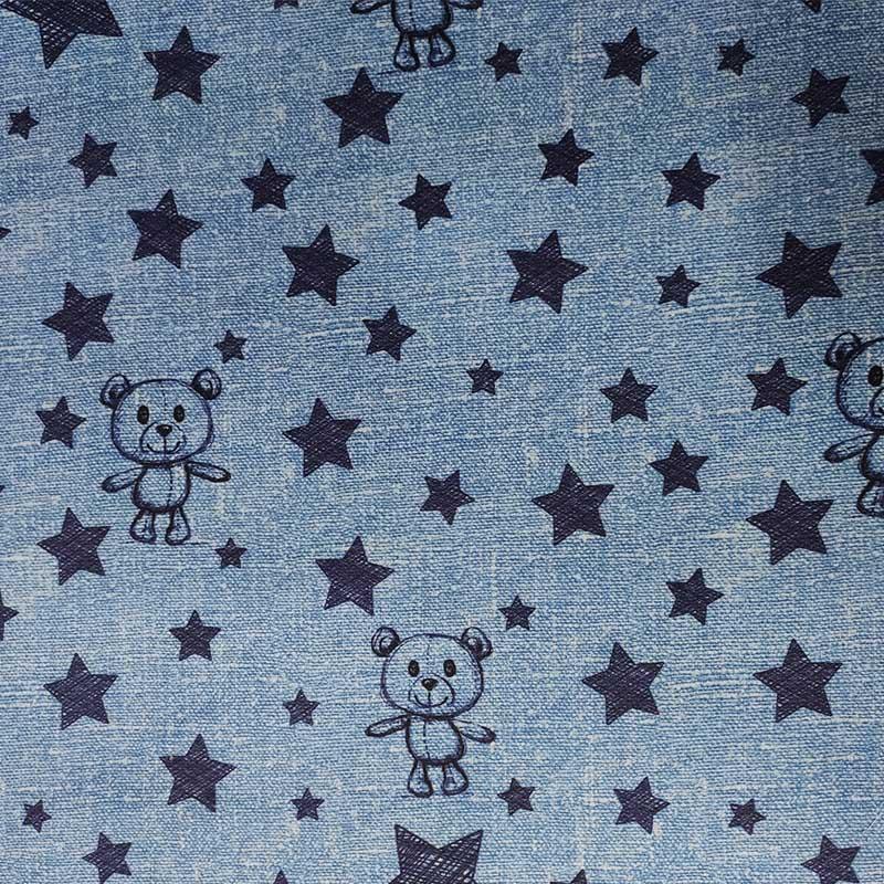 Ritaglio Rasatello Tipo Jeans 100% Cotone Orsetti e Stelle 50x140 cm
