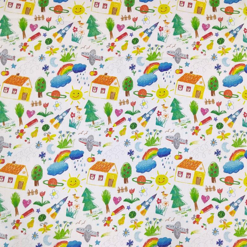 Ritaglio Rasatello Cotone Fantasia Disegni a Pastello 50x140 cm