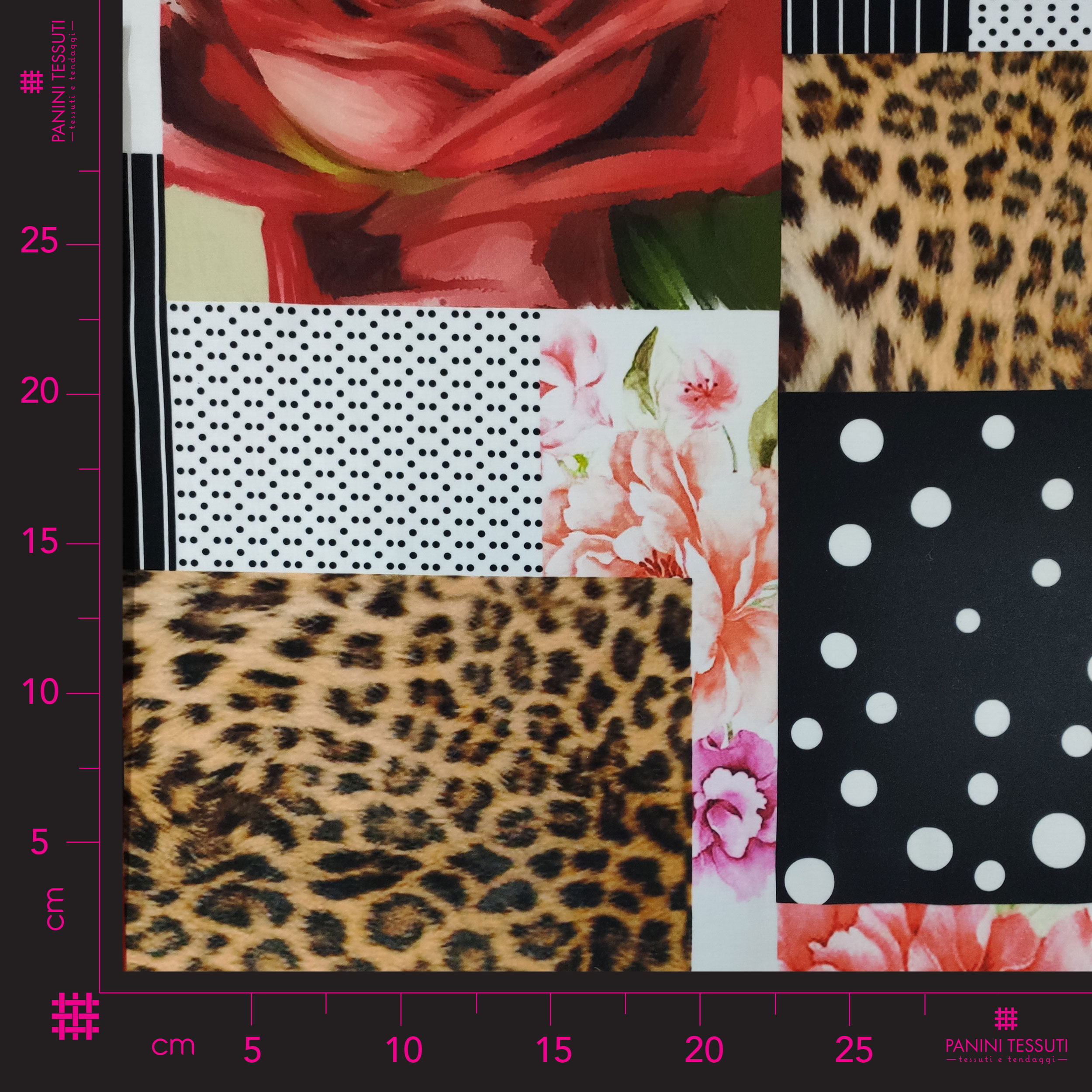 Tessuto di Cotone Alta Moda Fantasia Patchwork Floreale Leopardata