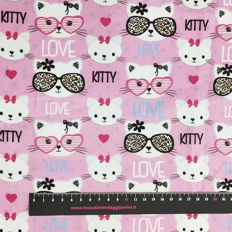 Tessuto Rasatello Cotone Kitty Love