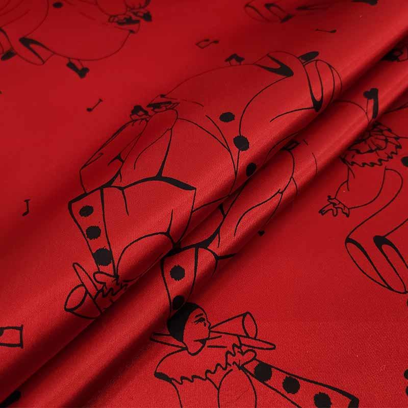 Tessuto Carnevale Maschere Danzanti Rosso