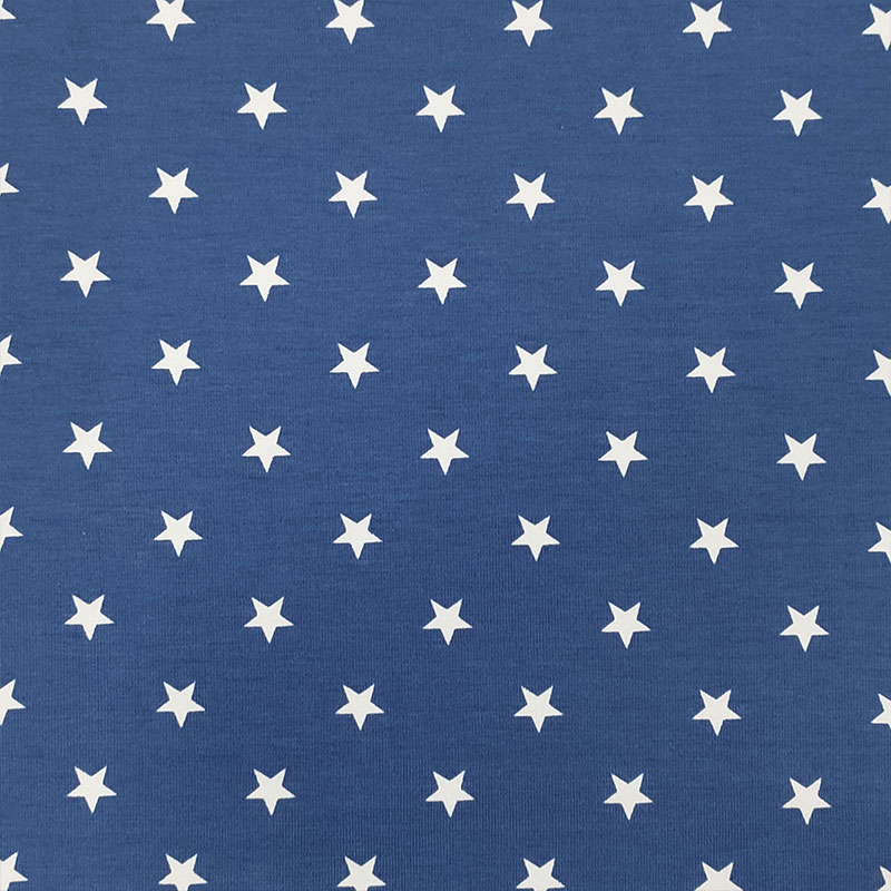 Tessuto Jersey Stelline Azzurro
