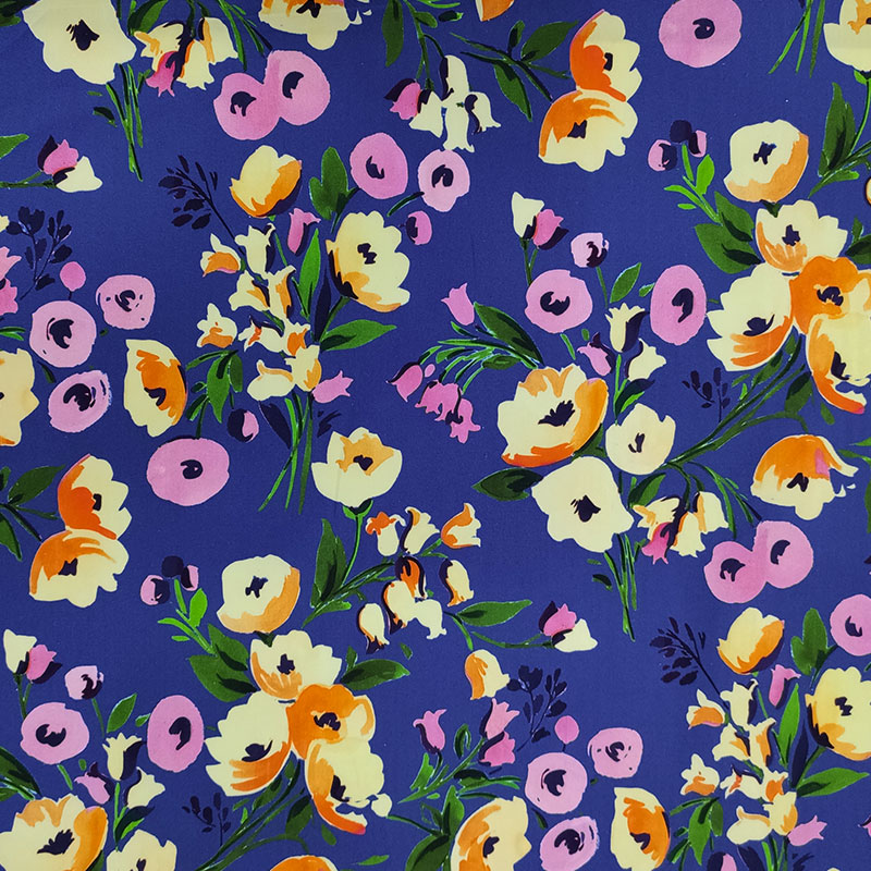 Tessuto di Cotone Fiori Disegnati Sfondo Viola