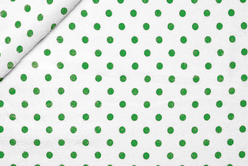 Tessuto Spugna Pois Stampati Verde