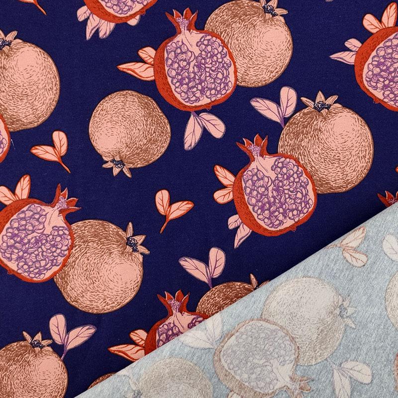 Tessuto-Misto-Cotone-Frutti-Sfondo-Blu