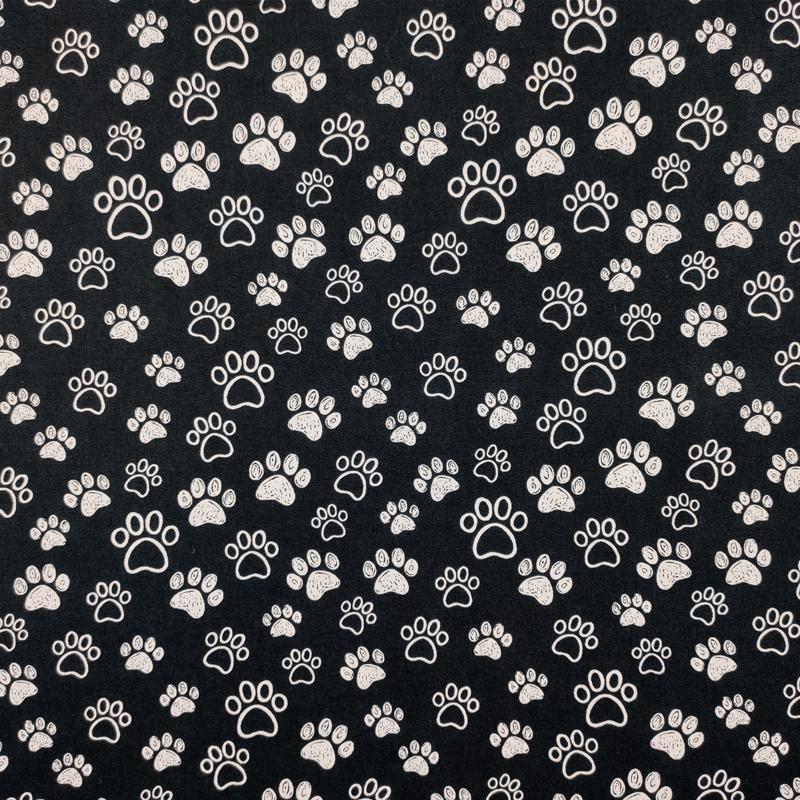 Tessuto Cotone Zampe Black and White