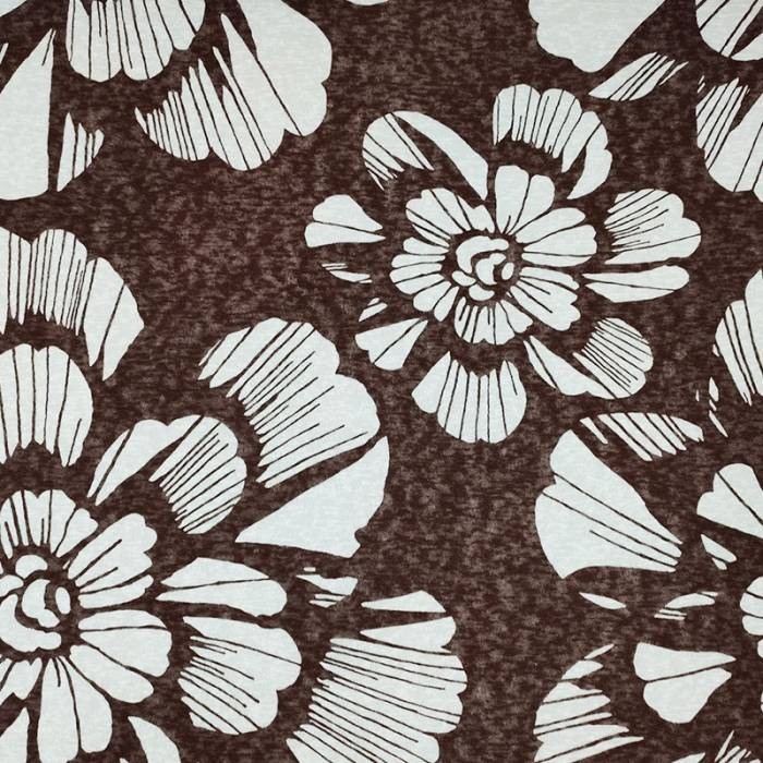 Tessuto Jersey Fiori Bianchi Sfondo Marrone