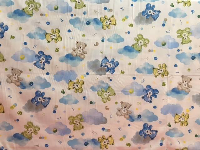 Tessuto Cotone Orsetti e Nuvole Azzurro
