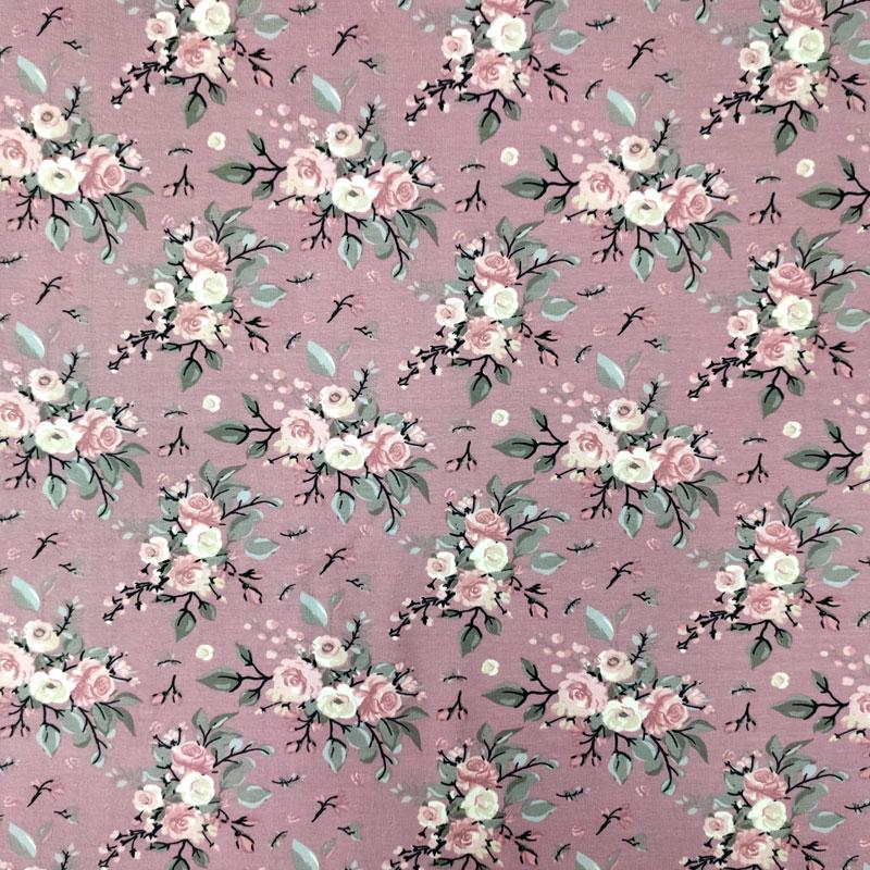 Tessuto Maglina Natural Fiorellini Sfondo Rosa Antico