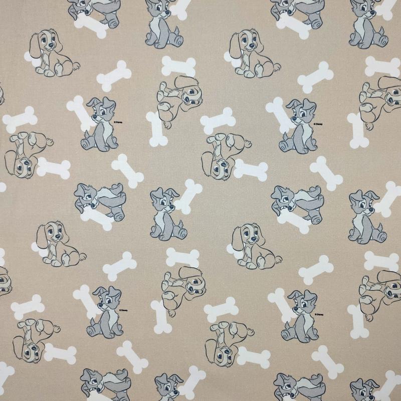 Tessuto Cotone Disney Lilly e il Vagabondo Cuccioli