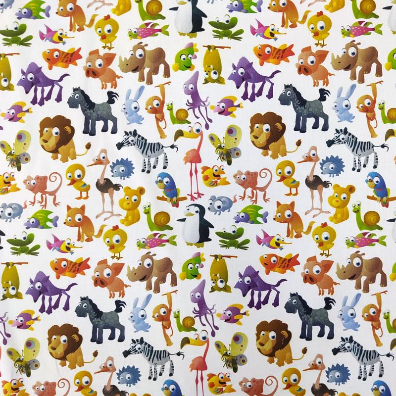Ritaglio Rasatello Cotone Fantasia Animali dal Mondo 50x140 cm