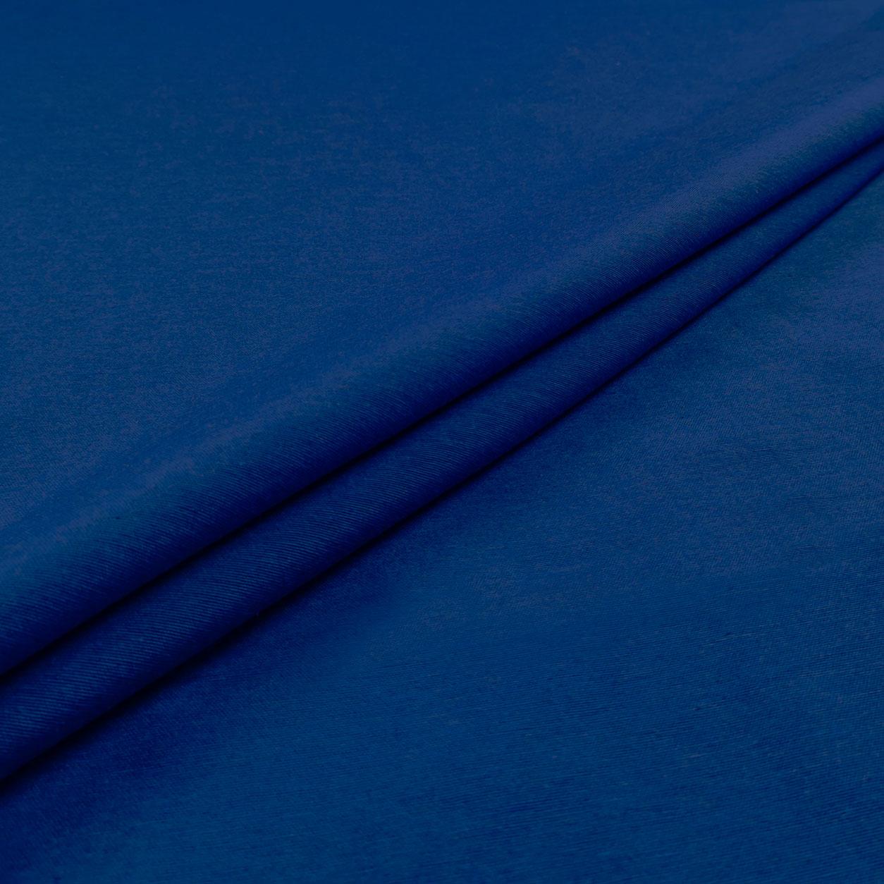 Tessuto Misto Cotone Tinta Unita Blu