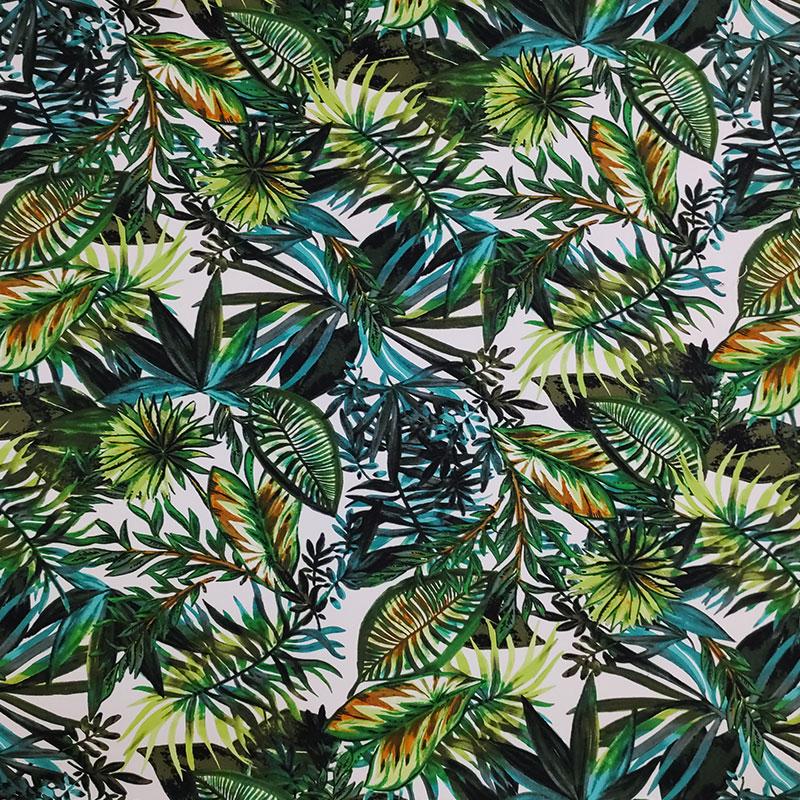 Tessuto Cotone Elasticizzato Fogliame Verde