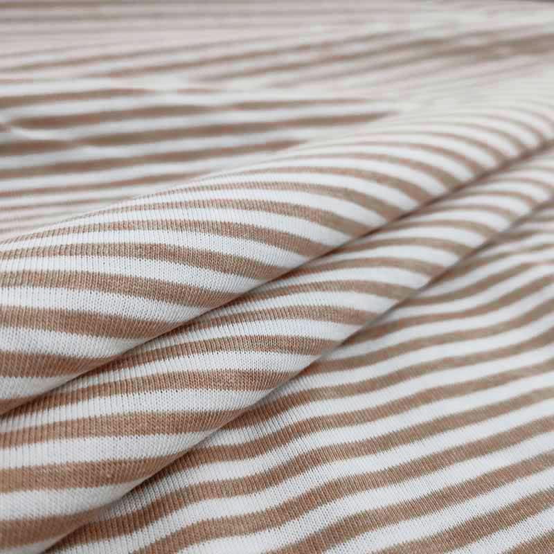 Tessuto Maglina di Cotone Riga Sottile Beige