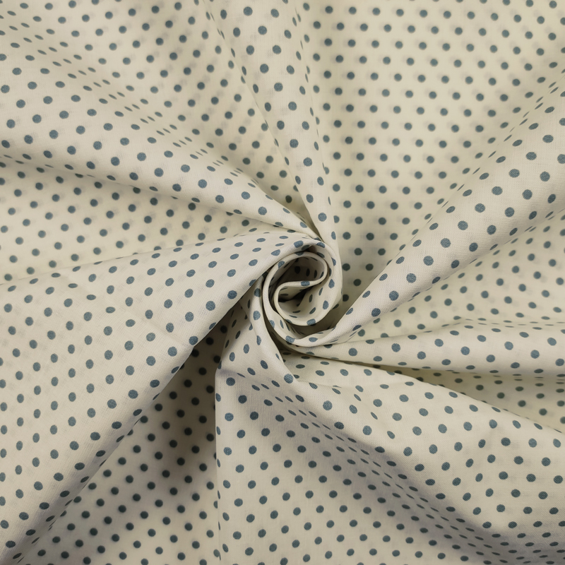 Tessuto Cotone Pois Verdi Sfondo Panna