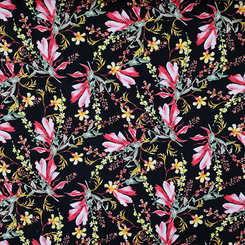 Tessuto Cotone Elasticizzato Floreale Romantica