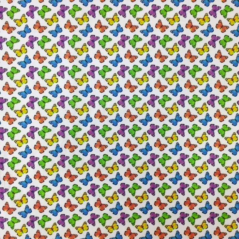 Ritaglio Rasatello di Cotone Farfalline 50x140 cm