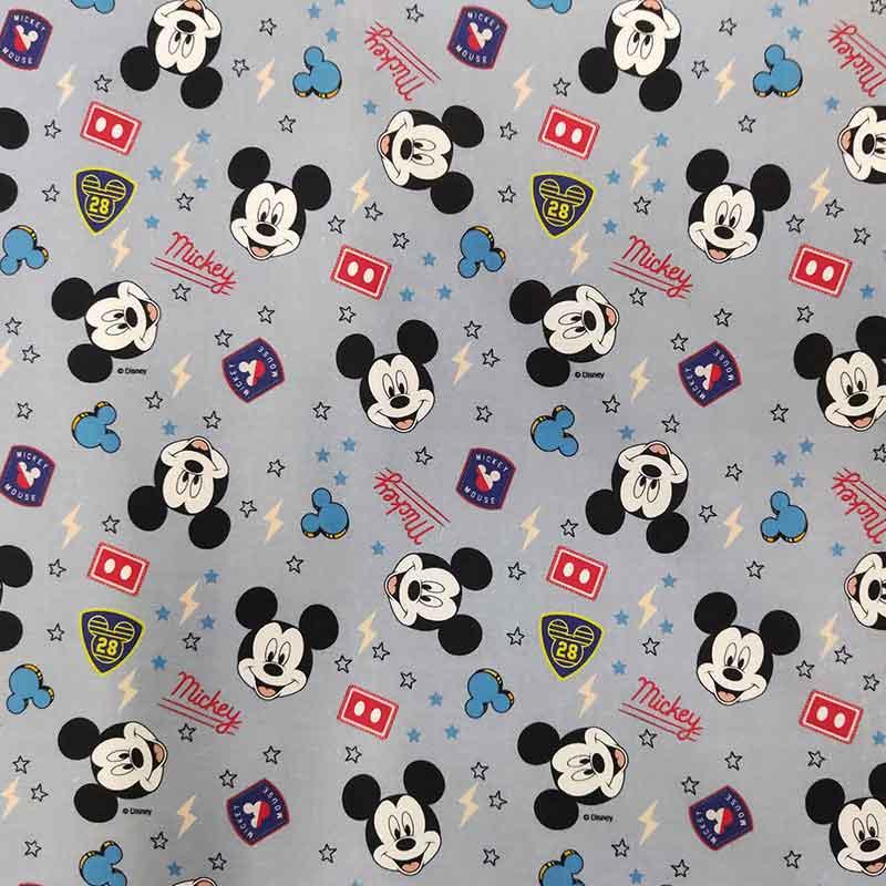 Tessuto Cotone Disney Mickey Mouse Base Grigia