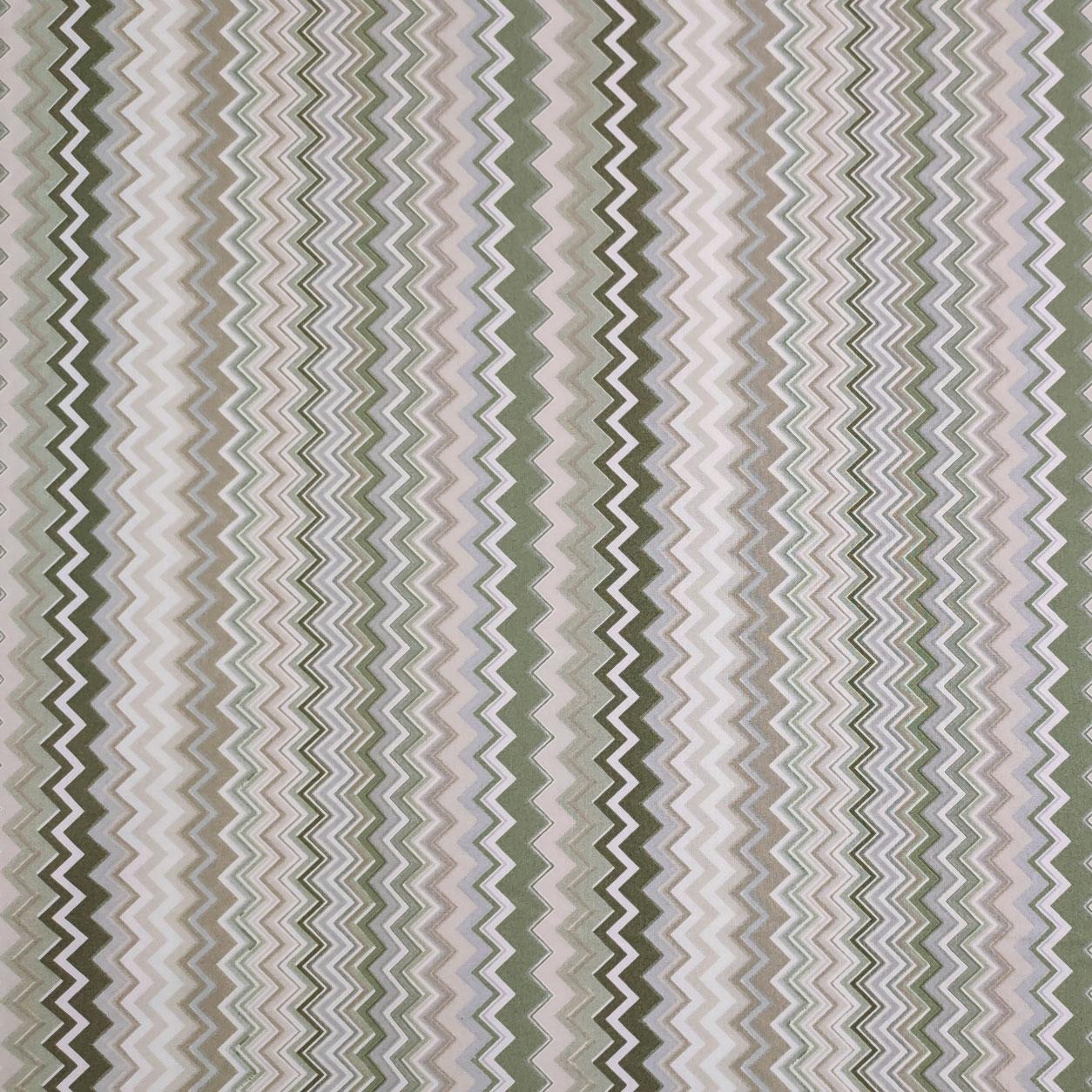 Tessuto di Cotone Zig Zag Multicolor Toni del Verde