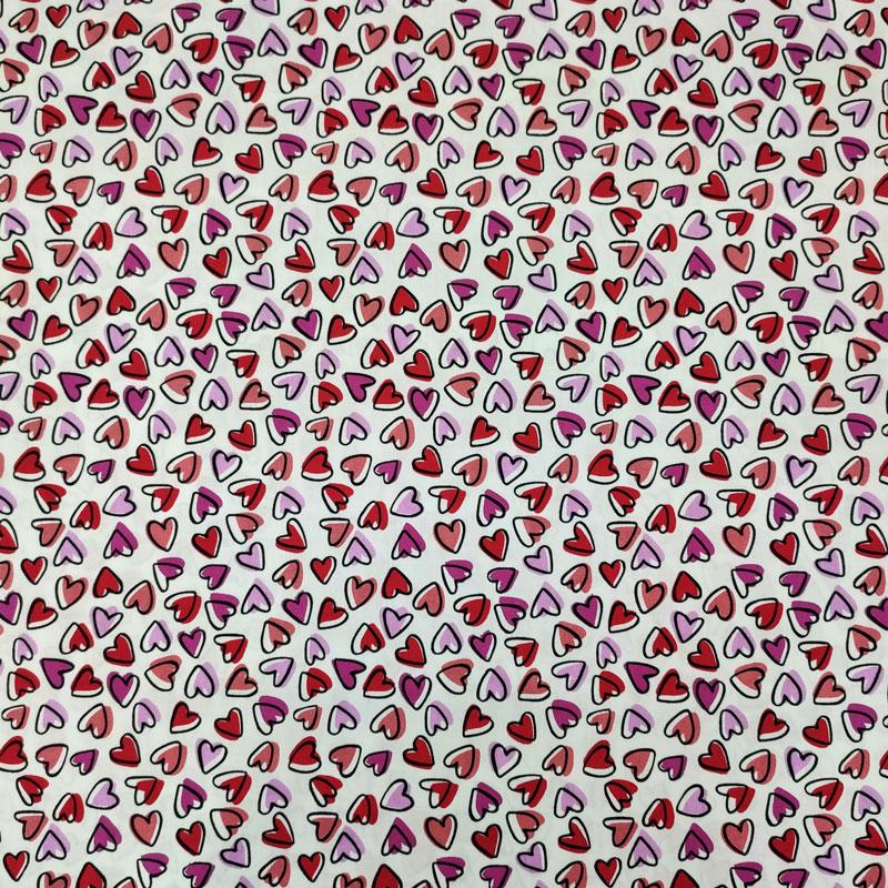 Ritaglio Tessuto Cotone Natural Cuoricini Multicolor