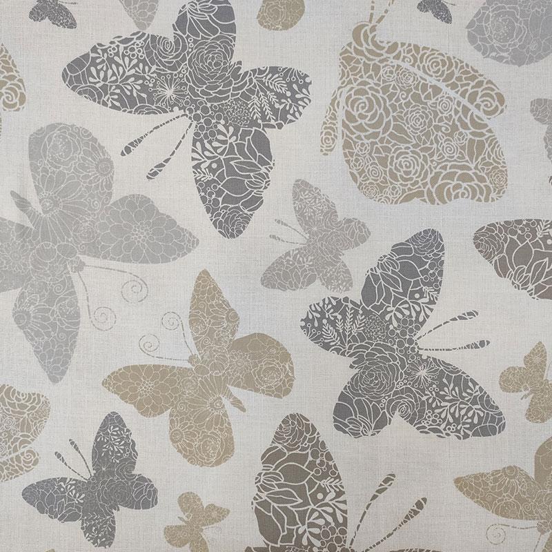 Tessuto Panama di Cotone Fantasia Farfalle Beige e Grigio