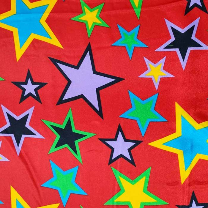 Tessuto Raso Carnevale Stelle Colorate