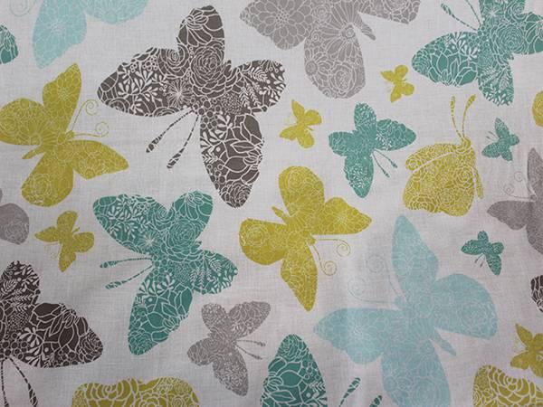 Tessuto Panama di Cotone Fantasia Farfalle