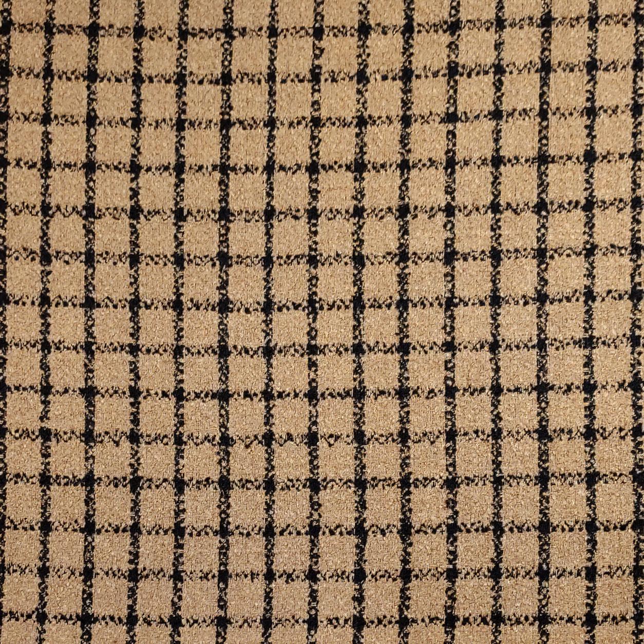 Tessuto per Cappotto Cammello Quadri Nero