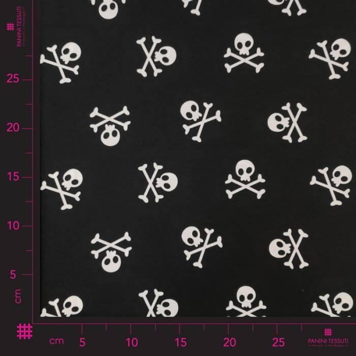 Tessuto Teschi Pirati Sfondo Nero